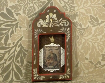 Vintage Religious Print Madonna and Child/ Heart Milagro/Hand Painted Frame