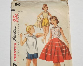 1950s Girls Skirt, Blouse and Shorts Pattern: Simplicity 1146 50s Girls or Pre-teen Summer Wardrobe