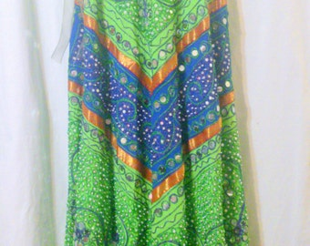 Vintage Ethnic Indian Bohemian Inspired Embroidered Mirrored Maxi Skirt Size M/L