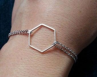 Silver Hexagon Bracelet. Geometric Bracelet. Geometric Jewelry. Hex Bracelet. Modern Trendy Hip. Layering Layered