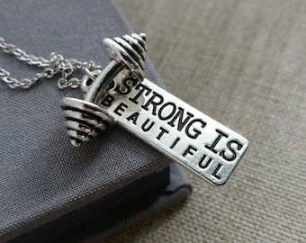 Dumbbell Necklace,Weight Lifting Workout Jewelry, Fitness Necklace, Crossfit Necklace. Strong Is Beautiful