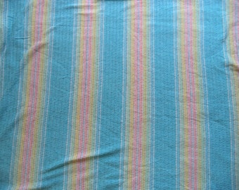 Pastel stripe t shirt knit/ vintage tee shirt tubing/ stripes and tiny holes stretchy fabric/ light weight knit fabric