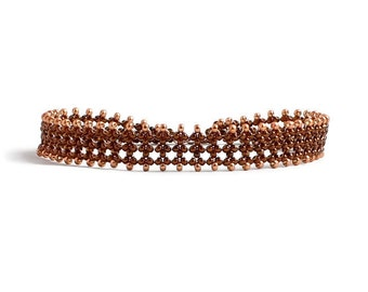 Dark Copper Anklet - Seed Bead Ankle Bracelet - Beaded Jewelry - Summer Beach Anklet - Lace Foot Jewelry