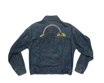 LRG | 1970's DEE CEE Rainbow Embroidered Denim Jacket w/ Pleated Front