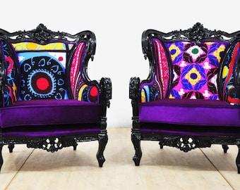 2 x Vintage Armchairs - black king