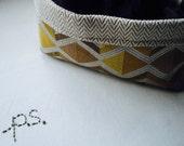 Soft Fabric Bin/Basket in Yellow, Tan, Brown