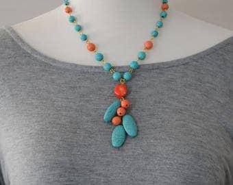 SALE, Bib Necklace, Dangle Necklace, Genuine Turquoise and Coral Necklace, Link teardrop necklace, Gift for her, Summer Necklace