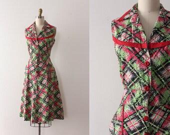 vintage 1940s dress // 40s cotton button up house dress