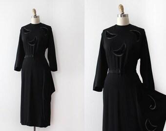AMAZING vintage 1940s dress // 40s black detailed evening dress