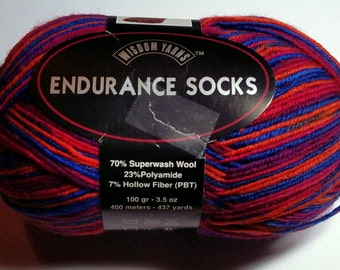 Endurance Sock Yarn, Coral Reef Color 402 Lot S4192