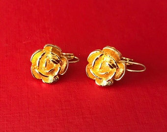 Vintage Signed Anne Klein Gold Plaref Rose Flower Pierced Earrings