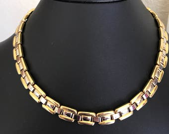 Vintage Gold and Silver Flat Decorative Link Collar Necklace