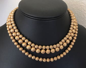 1964 Golden Wardrobe Vintage Sarah Coventry Three Layer Swirl Bead Choker Necklace