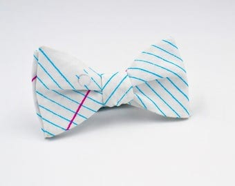 Mens Freestyle Bowtie, College Ruled Paper, Self Tie Bow Tie, Nerdy Gifts, Geek Gifts, Adjustable Bowtie