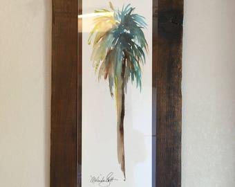 Palm tree framed reclaimed wood,  Original Watercolor Painting - brown, rust, sage green