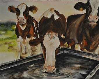 Original Cattle, Cow Painting Western Decor,  Cowboy Ranch Painting