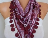 ON SALE --- Burgundy Zebra Print Cotton Scarf,Summer Shawl,Cowl with Lace Edge,Bridesmaid Gift,Wedding Scarf,Women Scarves,Gift ideas For He