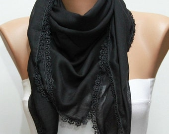 ON SALE --- Black Cotton Scarf,Fall Winter scarf,Bridesmaid Gift, Necklace Cowl with Lace Edge,Women Scarves,Christmas Gift
