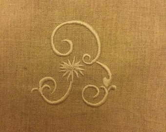 French Embroidered monogram on Linen
