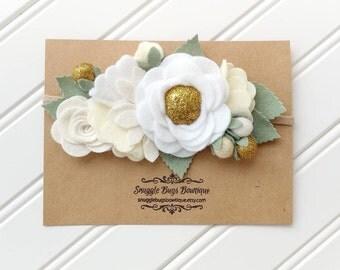 Gold and White Baby Headband-Rose and Wildflower Felt Flower Bouquet Headband- Headband-Baby Headbands-Newborn Headband- Christmas Headband