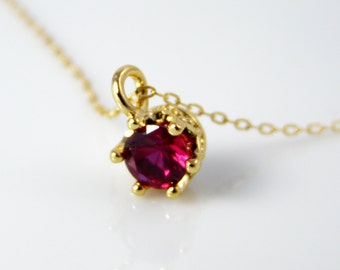 Ruby cz solitaire necklace, red stone pendant, ruby necklace, July birthstone necklace