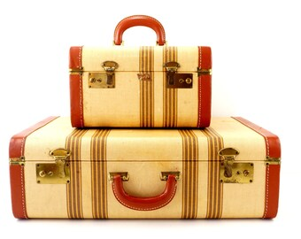 Vintage Striped Tweed Suitcase Set by Travel Joy (c.1940s) - Home Storage, Luggage Decor