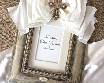 Religious Photo Frame Bow Baby Personalized Jeweled Cross Baptism First Christmas Confirmation Religious Gift Idea