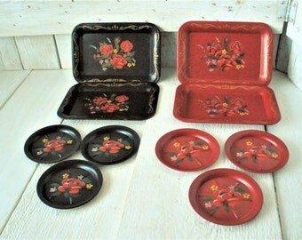 Vintage tray coaster sets small metal black red tole painted floral