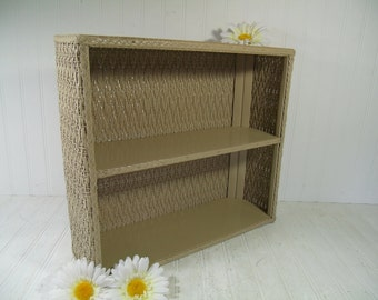 Vintage Khaki Painted Wood & Wicker Double Shelf - Retro Beige Taupe Organizer Unit with 2 Shelves - Cottage Chic Sand Color Display Shelves