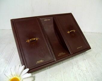 Vintage Hickok Brown Cowhide Leather Men's Dresser Valet Jewelry Box with Gold Trim & Brown Velveteen Interior Retro Dresser Caddy Organizer