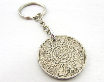 1955 Two Shillings Coin Keychain | 62nd Birthday Gift | Coin Keyfob | British Coin Gift | Queen Elizabeth Coin | Vintage Shilling Keychain