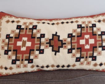 70s Vintage SouthWestern Hand Made Wool Needlepoint Western Decor Throw Pillow