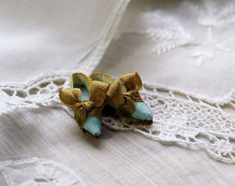 Miniature shoes - romantic flats - blue silk with golden bow