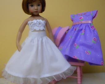 "Embroidered Dress Ensemble for 13"" Effner Little Darling Doll-Lavender & Pink-Juried Stitchery Artist-Free US Ship"