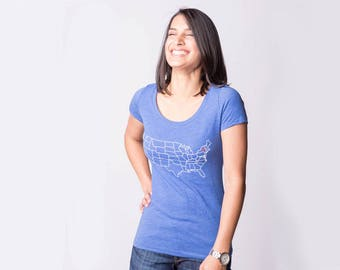 Map T-shirt - State Shirt - Home Is Where The Heart Is - Tri-Blend Scoopneck T-Shirt - Scoop Neck