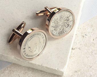 Rose Gold Any Date (1928-1967) Sixpence Cufflinks