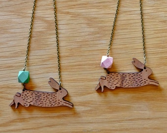 Wooden Bunny Necklace with Geometric Bead
