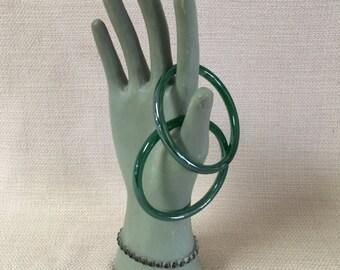 Set of  Two Vintage Glass Bangle Bracelet 1970's Iridescent Green