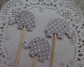 24 Grey Polka Dot  Elephant Party Picks - Cupcake Toppers - Food Picks -  Baby Shower Decorations - Gender Neutral Party - Gray