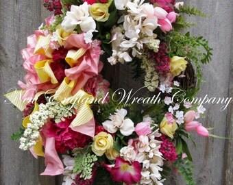 Spring Wreath, Easter Wreath, Spring Floral Wreath, Elegant Floral, Victorian Wreath, XL Wreath, Designer Wreath, Country French Wreath