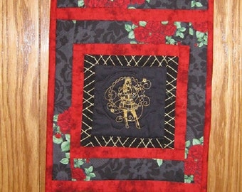 Steampunk Wall Hanging or Table Runner- Red Roses Lady;  victorian, pagan, bohemian