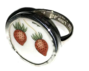 Broken China Jewelry, Strawberry  Ring, Sterling Silver, Any Size, OOAK, Wedgewood China Ring, Recycled. Upcycled