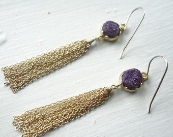 Gold Fringe on Purple Druzy Earrings