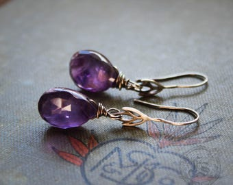 Sterling Silver and Amethyst Drops. Everyday Lily Earrings.