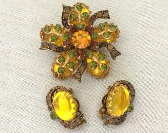 Rhinestone Statement Brooch Set Jewelry Gift for Her - Vintage Rhinestone Demi Parure - Designer SELINI Brooch Clip on Earrings Set Yellow