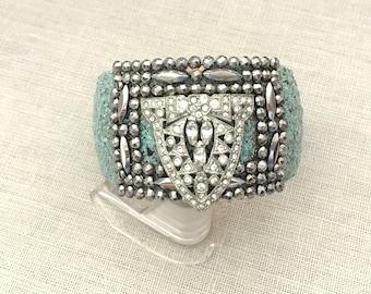Statement Jewelry Rhinestone Cuff Bracelet - Cut Steel Buckle Bracelet - Blue Enamel Bracelet - Mixed Media Bracelet Rhinestone Bracelet