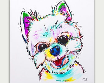 Colorful Art, Custom Dog Paintings, Acrylic On canvas, Wall Decor, Home Decor