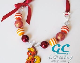 My Little Pony Bubblegum Necklace - Girls Jewelry Large Applejack Pendant, Gumball Beads,  Silver Crown Clasp, Ribbon