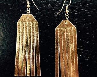 GOLD FRINGE EARRINGS, leather jewelry