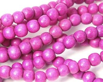 6mm Violet Purple Wood Beads -16 inch strand